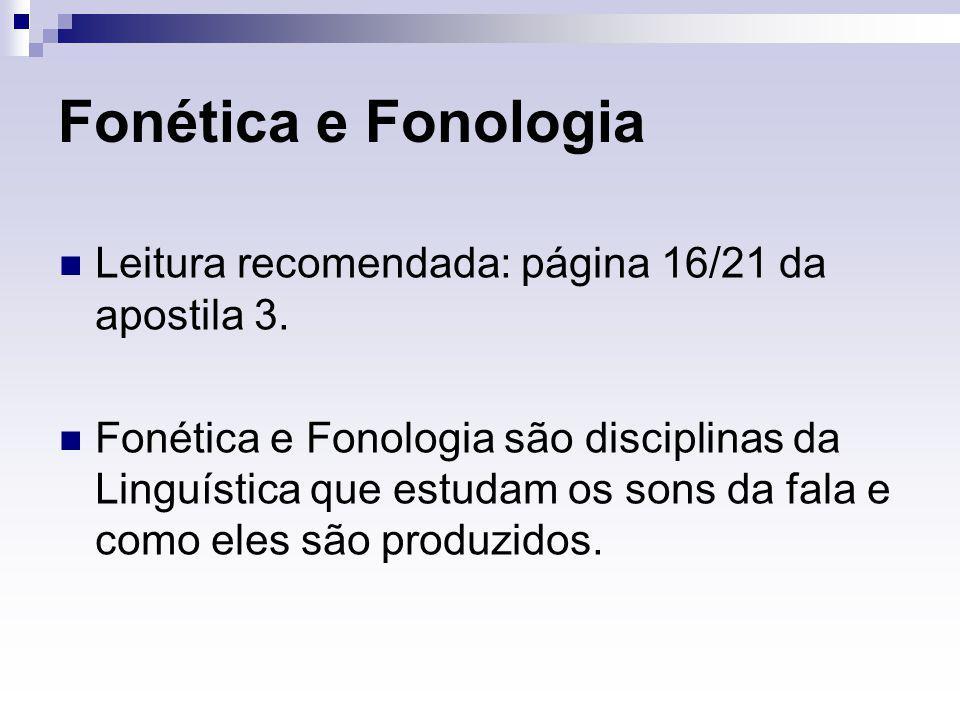 Fonética e Fonologia Leitura recomendada: página 16/21 da apostila 3. Fonética e Fonologia são disciplinas da Linguística que estudam os sons da fala