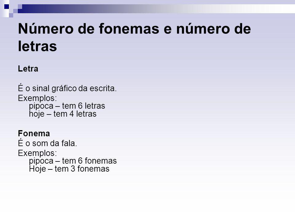 Número de fonemas e número de letras Letra É o sinal gráfico da escrita. Exemplos: pipoca – tem 6 letras hoje – tem 4 letras Fonema É o som da fala. E