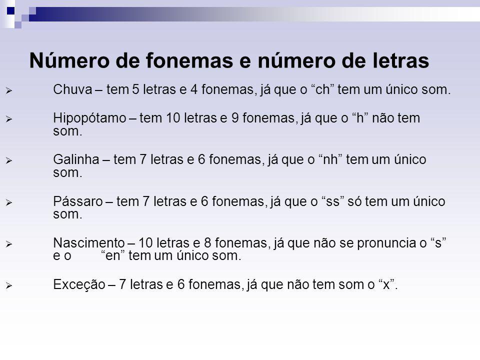 """Número de fonemas e número de letras  Chuva – tem 5 letras e 4 fonemas, já que o """"ch"""" tem um único som.  Hipopótamo – tem 10 letras e 9 fonemas, já"""