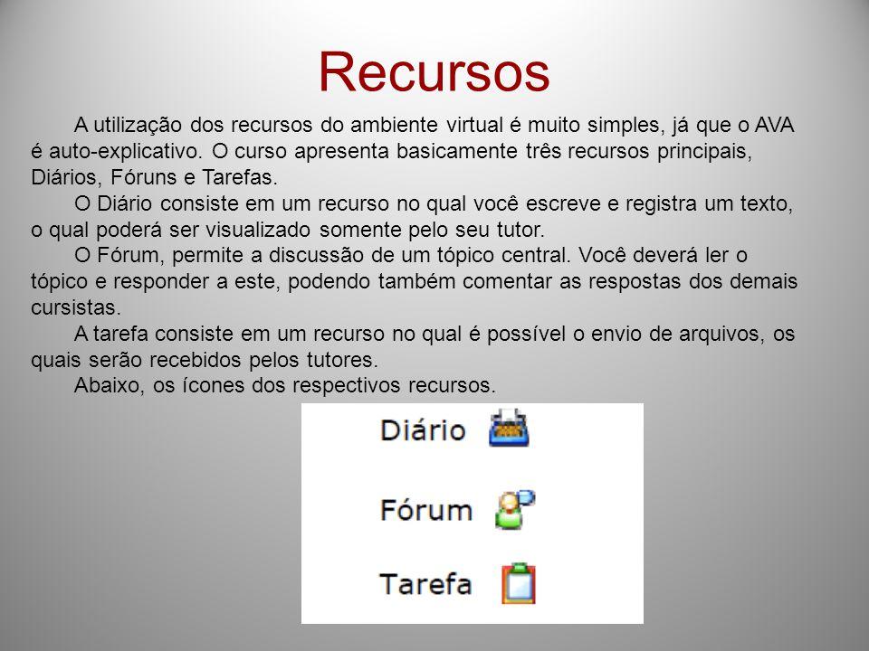 Recursos A utilização dos recursos do ambiente virtual é muito simples, já que o AVA é auto-explicativo.