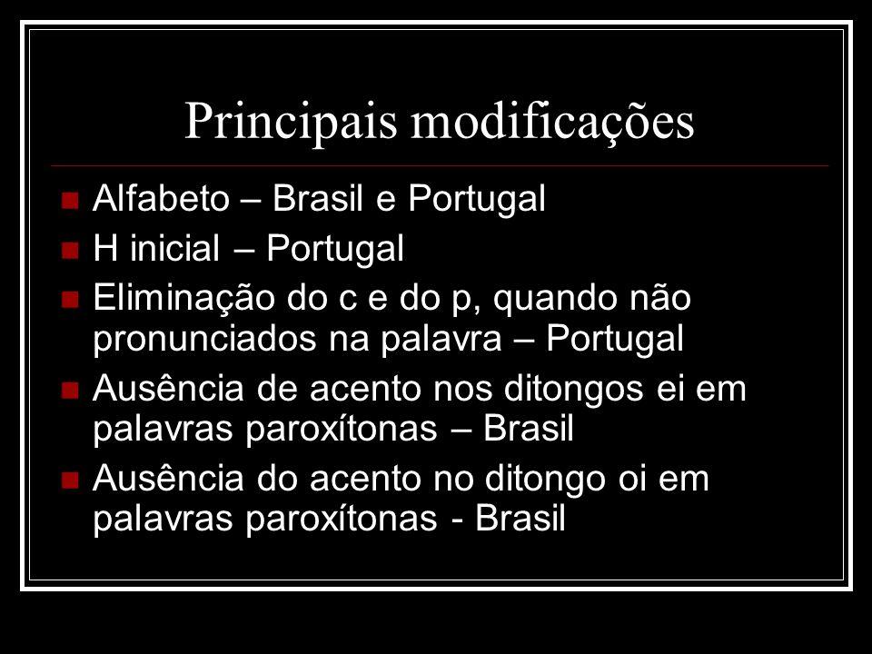 Principais modificações Alfabeto – Brasil e Portugal H inicial – Portugal Eliminação do c e do p, quando não pronunciados na palavra – Portugal Ausênc
