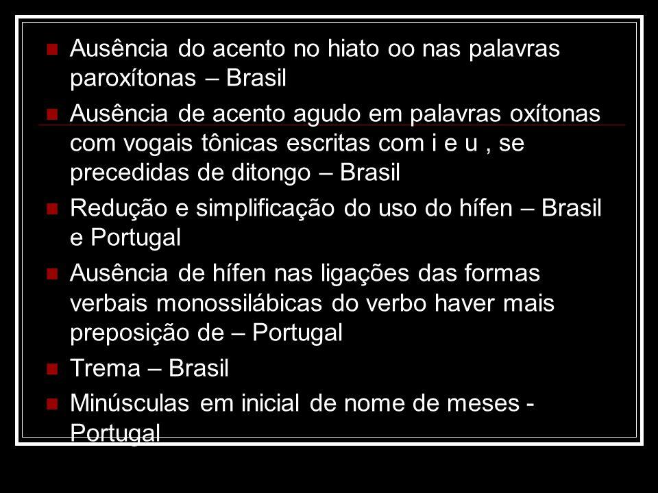 Ausência do acento no hiato oo nas palavras paroxítonas – Brasil Ausência de acento agudo em palavras oxítonas com vogais tônicas escritas com i e u,