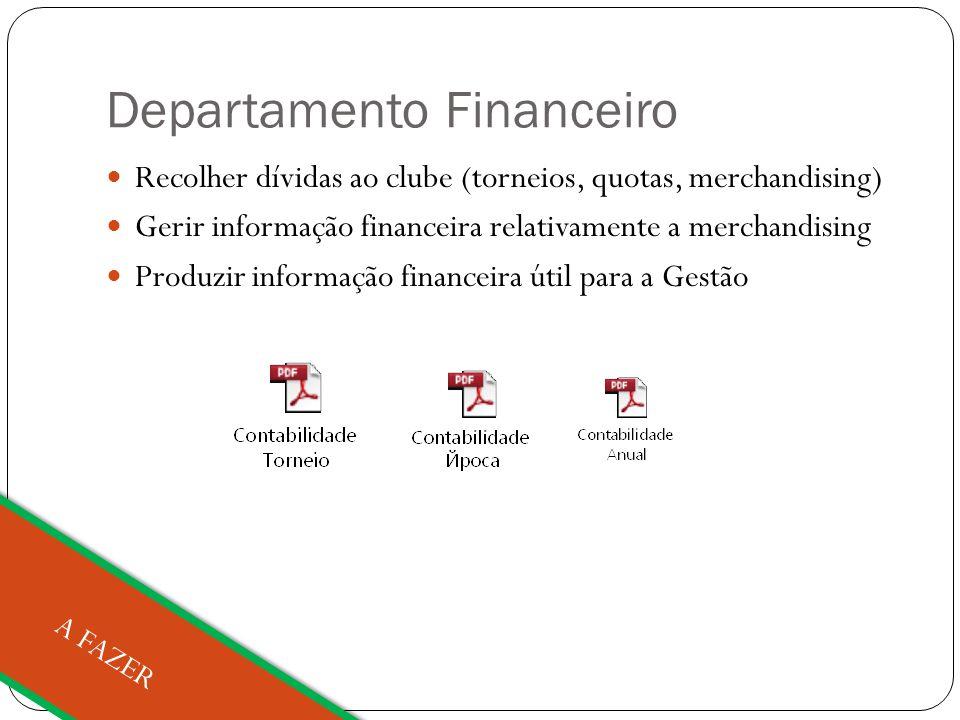 Departamento Financeiro Recolher dívidas ao clube (torneios, quotas, merchandising) Gerir informação financeira relativamente a merchandising Produzir informação financeira útil para a Gestão A FAZER