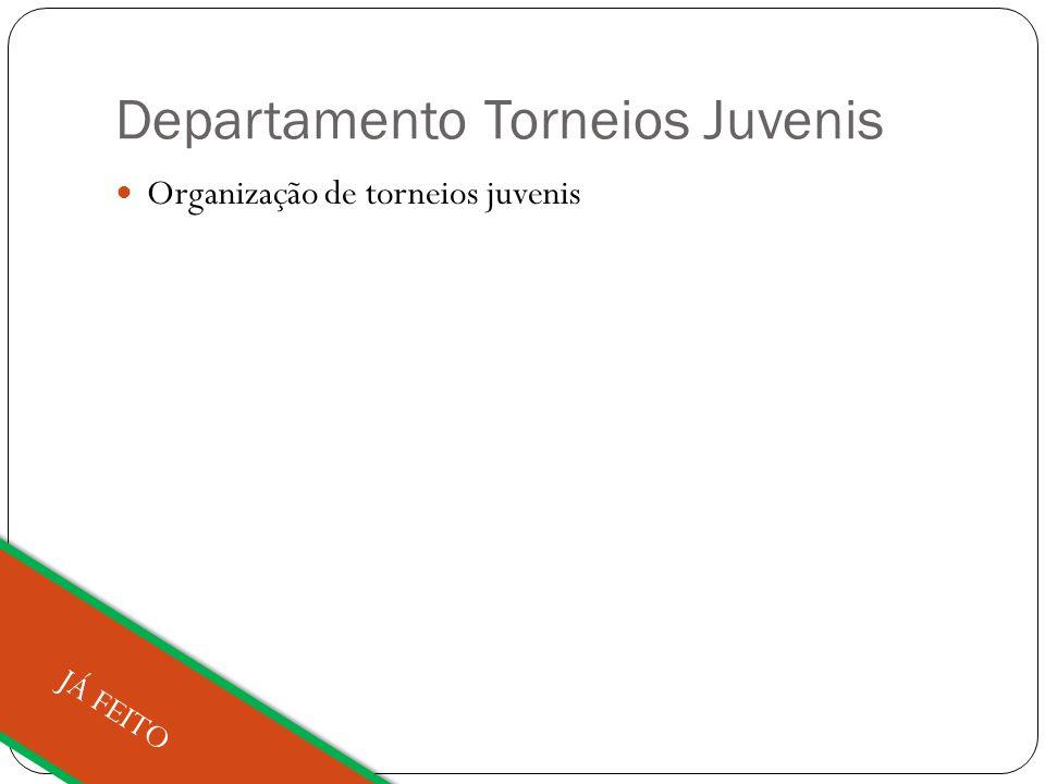 Departamento Torneios Juvenis Organização de torneios juvenis JÁ FEITO