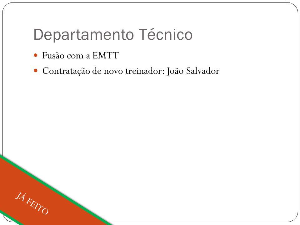 Departamento Técnico Fusão com a EMTT Contratação de novo treinador: João Salvador JÁ FEITO