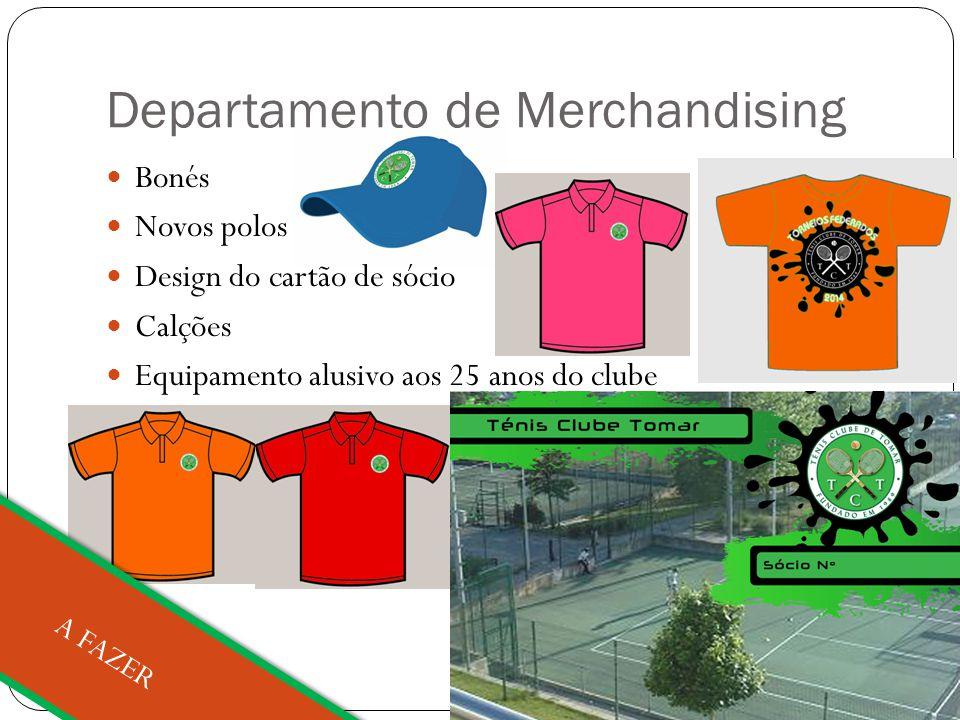 Departamento de Merchandising Bonés Novos polos Design do cartão de sócio Calções Equipamento alusivo aos 25 anos do clube A FAZER