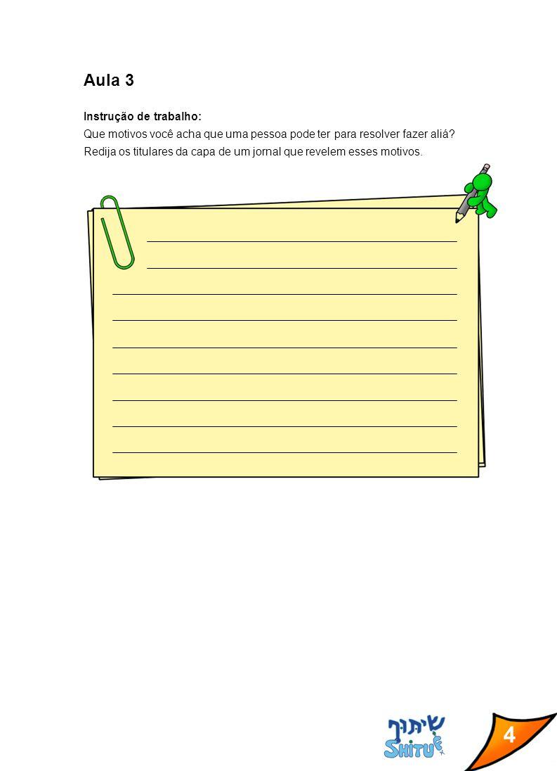 4 Aula 3 Instrução de trabalho: Que motivos você acha que uma pessoa pode ter para resolver fazer aliá? Redija os titulares da capa de um jornal que r