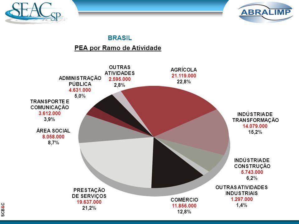 BRASIL PEA por Ramo de Atividade AGRÍCOLA 21.119.000 22,8% INDÚSTRIA DE TRANSFORMAÇÃO 14.079.000 15,2% INDÚSTRIA DE CONSTRUÇÃO 5.743.000 6,2% OUTRAS ATIVIDADES INDUSTRIAIS 1.297.000 1,4% COMÉRCIO 11.856.000 12,8% PRESTAÇÃO DE SERVIÇOS 19.637.000 21,2% ÁREA SOCIAL 8.058.000 8,7% TRANSPORTE E COMUNICAÇÃO 3.612.000 3,9% ADMINISTRAÇÃO PÚBLICA 4.631.000 5,0% OUTRAS ATIVIDADES 2.595.000 2,8% SCB&C