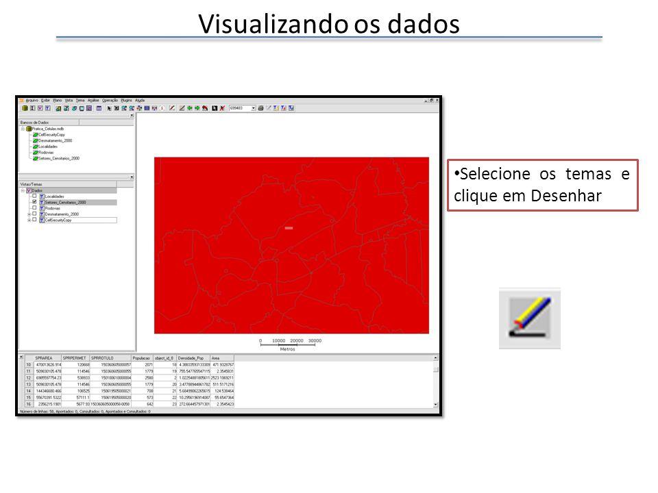 Visualizando os dados Selecione os temas e clique em Desenhar
