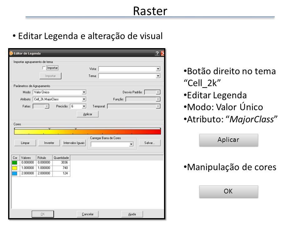 Editar Legenda e alteração de visual Botão direito no tema Cell_2k Editar Legenda Modo: Valor Único Atributo: MajorClass Manipulação de cores OK Raster Aplicar