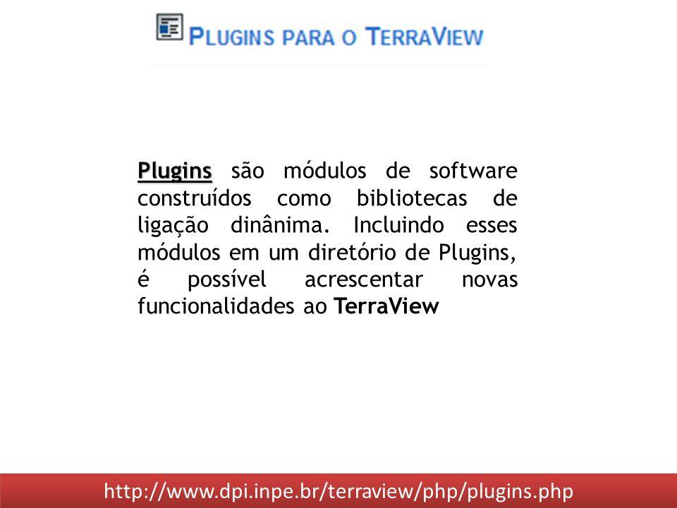 http://www.dpi.inpe.br/terraview/php/plugins.php Plugins Plugins são módulos de software construídos como bibliotecas de ligação dinânima.