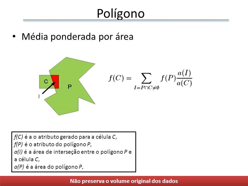 Polígono Média ponderada por área Não preserva o volume original dos dados f(C) é a o atributo gerado para a célula C, f(P) é o atributo do polígono P, a(I) é a área de interseção entre o polígono P e a célula C, a(P) é a área do polígono P,