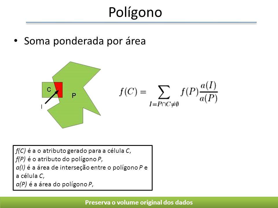 Polígono Soma ponderada por área Preserva o volume original dos dados f(C) é a o atributo gerado para a célula C, f(P) é o atributo do polígono P, a(I) é a área de interseção entre o polígono P e a célula C, a(P) é a área do polígono P,