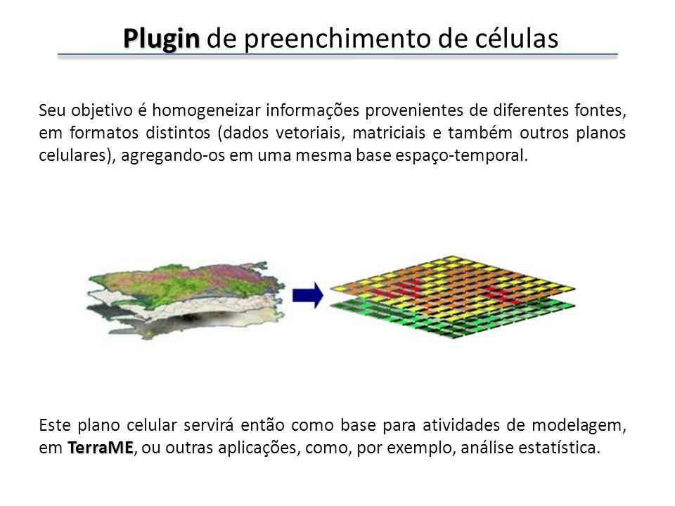 Plugin Plugin de preenchimento de células Seu objetivo é homogeneizar informações provenientes de diferentes fontes, em formatos distintos (dados vetoriais, matriciais e também outros planos celulares), agregando-os em uma mesma base espaço-temporal.