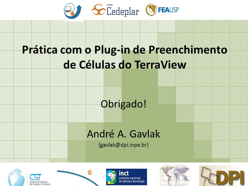 Prática com o Plug-in de Preenchimento de Células do TerraView Obrigado.