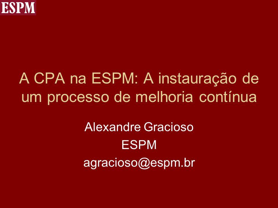 A CPA na ESPM: A instauração de um processo de melhoria contínua Alexandre Gracioso ESPM agracioso@espm.br