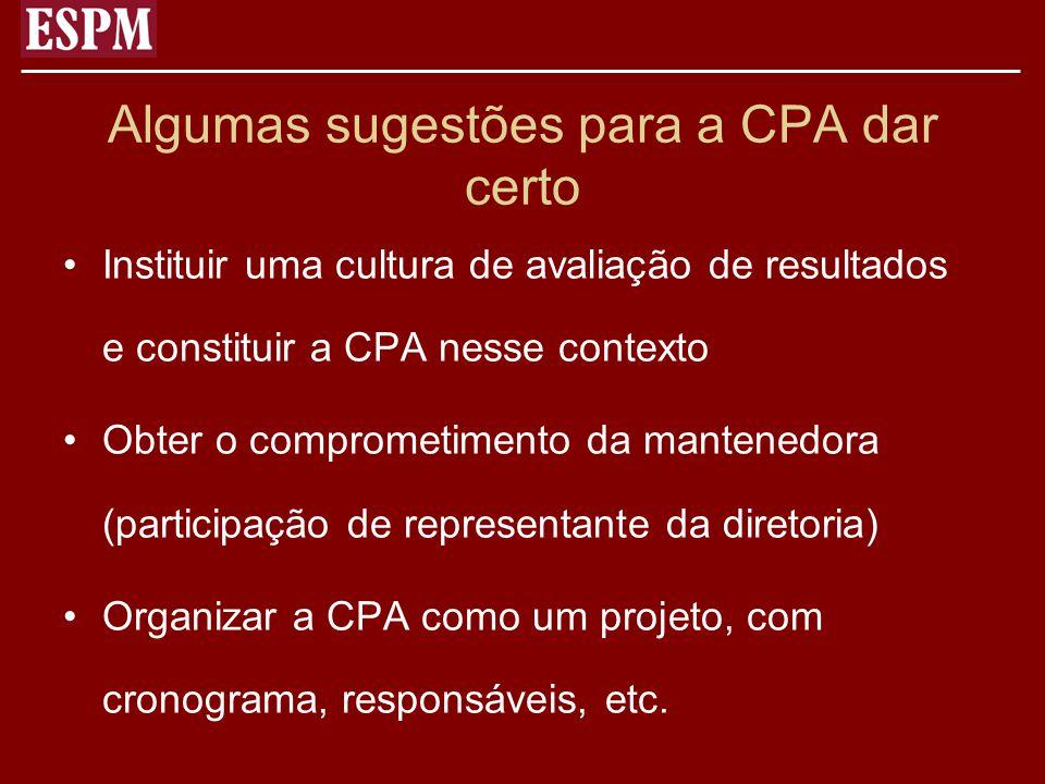 Algumas sugestões para a CPA dar certo Instituir uma cultura de avaliação de resultados e constituir a CPA nesse contexto Obter o comprometimento da m