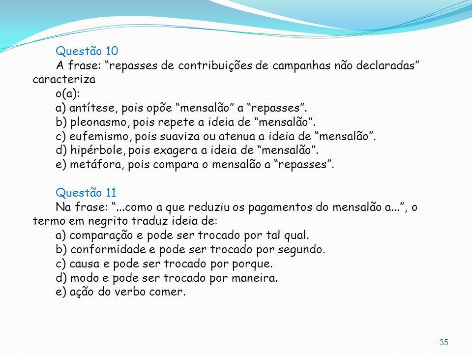 """35 Questão 10 A frase: """"repasses de contribuições de campanhas não declaradas"""" caracteriza o(a): a) antítese, pois opõe """"mensalão"""" a """"repasses"""". b) pl"""