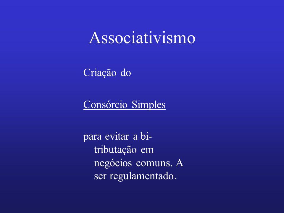 Associativismo Criação do Consórcio Simples para evitar a bi- tributação em negócios comuns. A ser regulamentado.