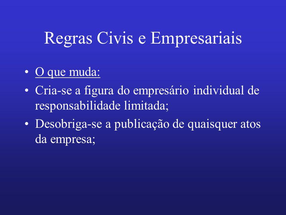 Regras Civis e Empresariais O que muda: Cria-se a figura do empresário individual de responsabilidade limitada; Desobriga-se a publicação de quaisquer