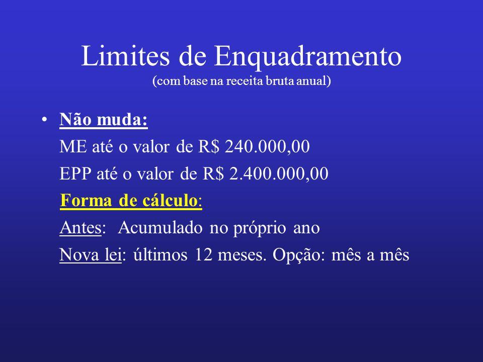 Limites de Enquadramento (com base na receita bruta anual) Não muda: ME até o valor de R$ 240.000,00 EPP até o valor de R$ 2.400.000,00 Forma de cálcu