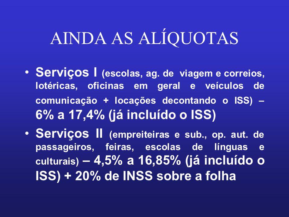 AINDA AS ALÍQUOTAS Serviços I (escolas, ag. de viagem e correios, lotéricas, oficinas em geral e veículos de comunicação + locações decontando o ISS)