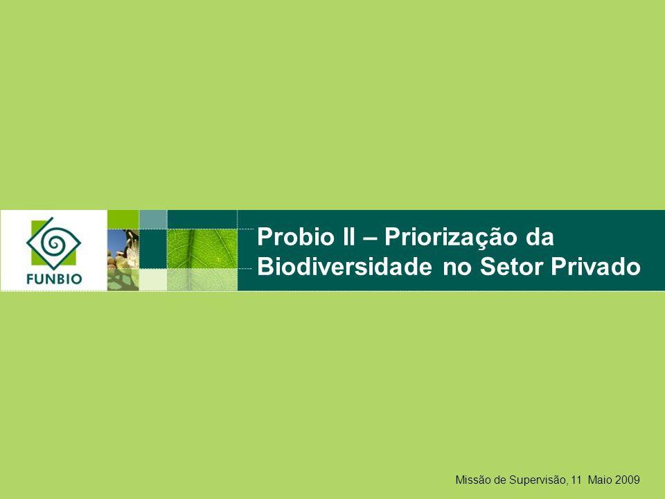 Missão de Supervisão, 11 Maio 2009 Probio II – Priorização da Biodiversidade no Setor Privado