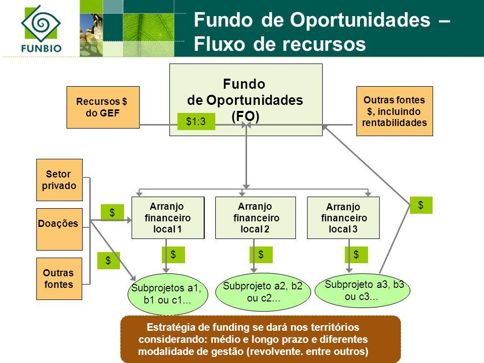 $ $ $$$ $ Fundo de Oportunidades (FO) Recursos $ do GEF Outras fontes $, incluindo rentabilidades Subprojeto a3, b3 ou c3... Subprojeto a2, b2 ou c2..