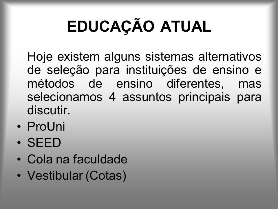 EDUCAÇÃO ATUAL Hoje existem alguns sistemas alternativos de seleção para instituições de ensino e métodos de ensino diferentes, mas selecionamos 4 assuntos principais para discutir.