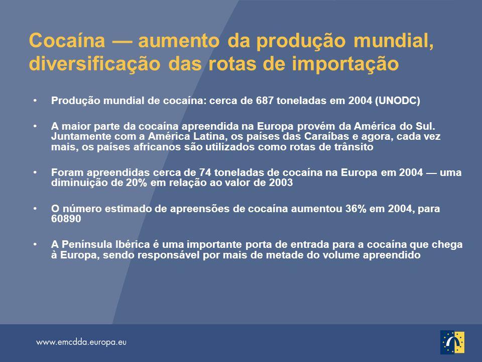 Cocaína — aumento da produção mundial, diversificação das rotas de importação Produção mundial de cocaína: cerca de 687 toneladas em 2004 (UNODC) A ma