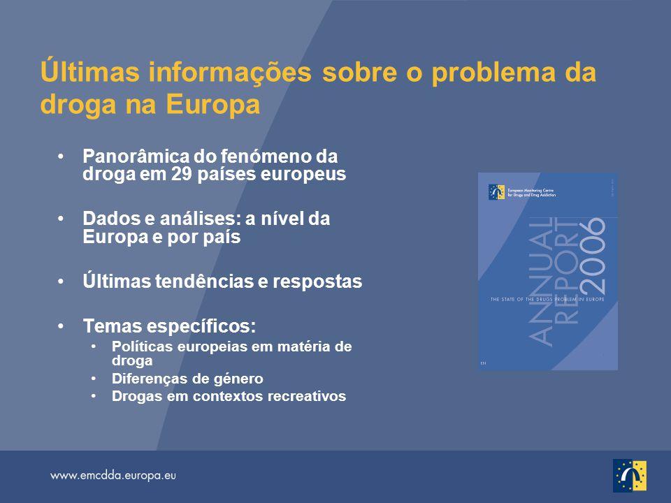 Últimas informações sobre o problema da droga na Europa Panorâmica do fenómeno da droga em 29 países europeus Dados e análises: a nível da Europa e po