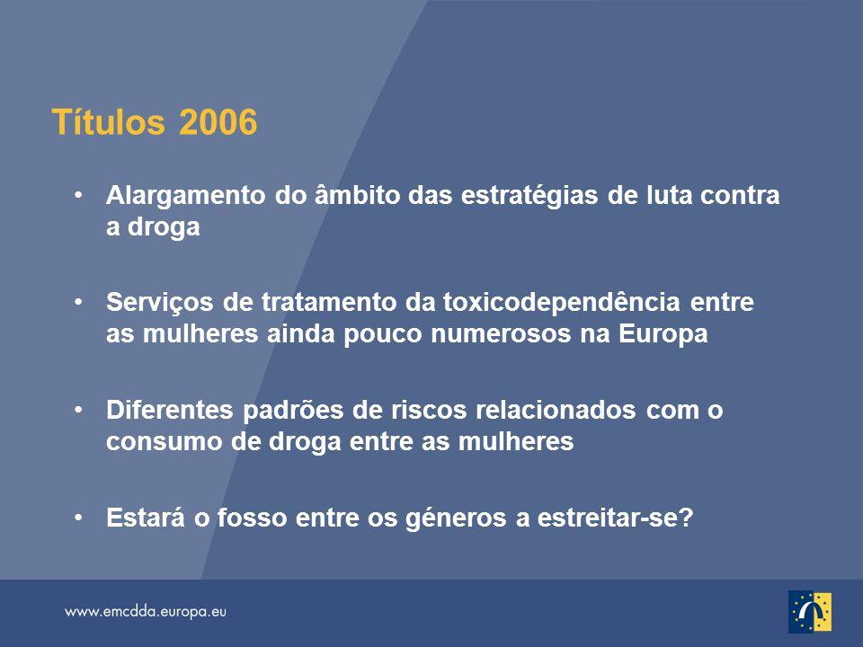 Títulos 2006 Alargamento do âmbito das estratégias de luta contra a droga Serviços de tratamento da toxicodependência entre as mulheres ainda pouco nu