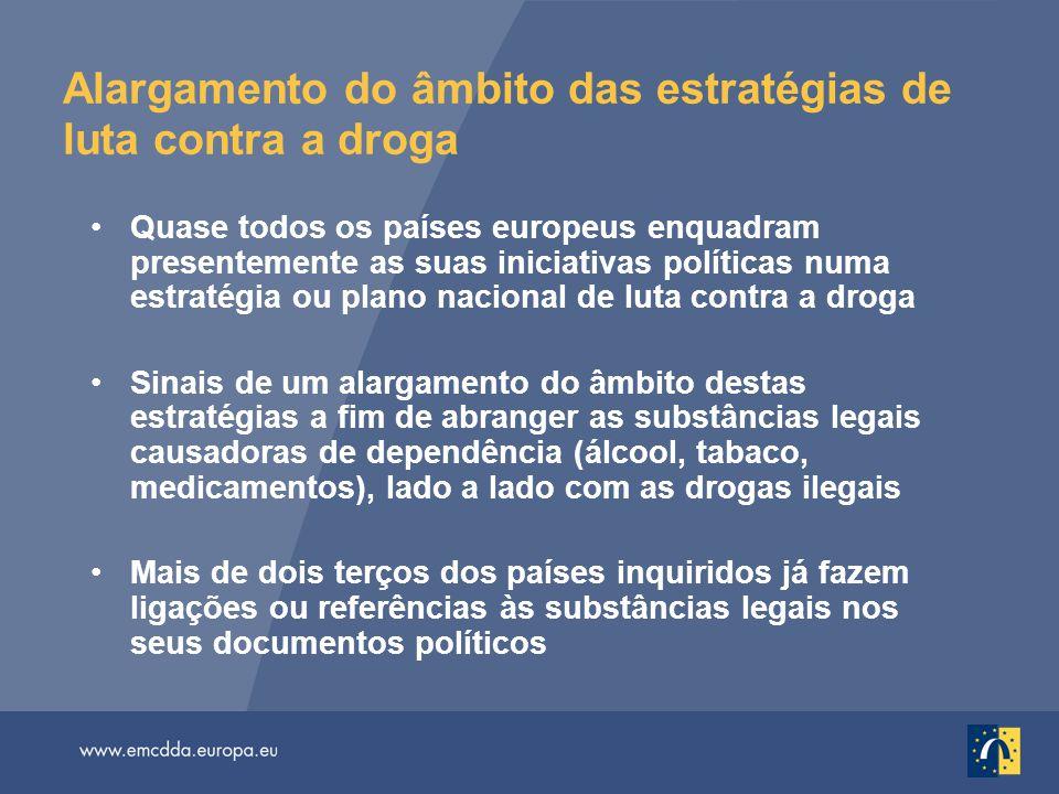 Alargamento do âmbito das estratégias de luta contra a droga Quase todos os países europeus enquadram presentemente as suas iniciativas políticas numa