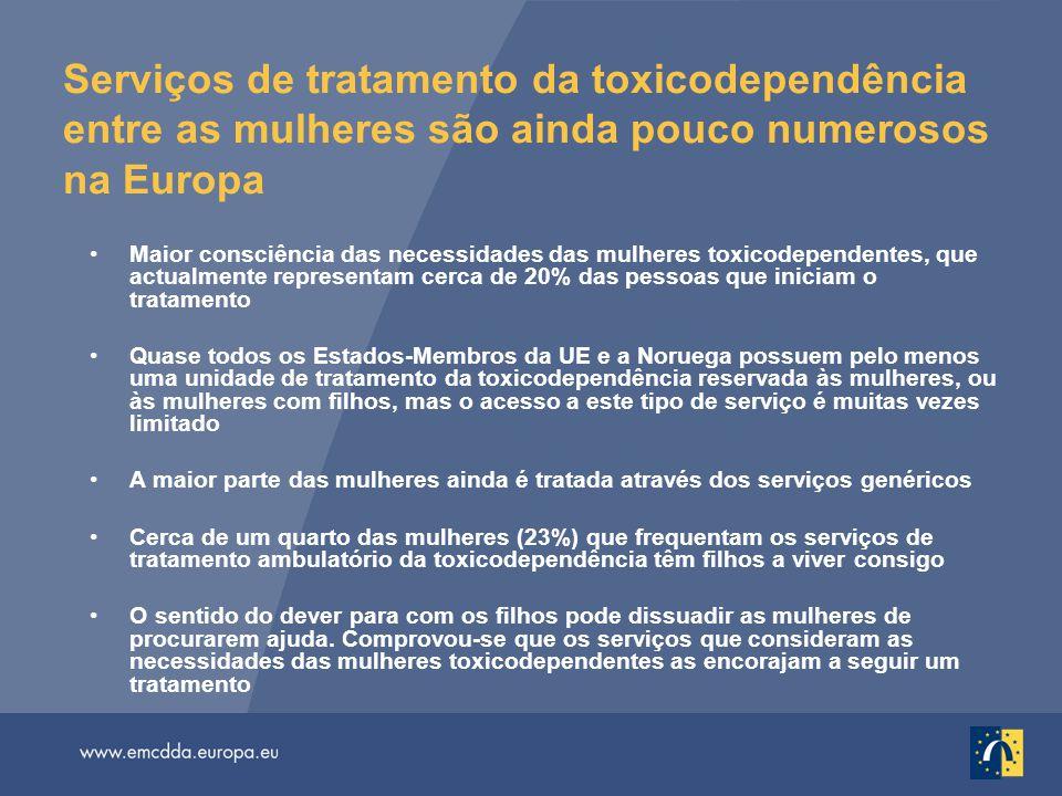 Serviços de tratamento da toxicodependência entre as mulheres são ainda pouco numerosos na Europa Maior consciência das necessidades das mulheres toxi
