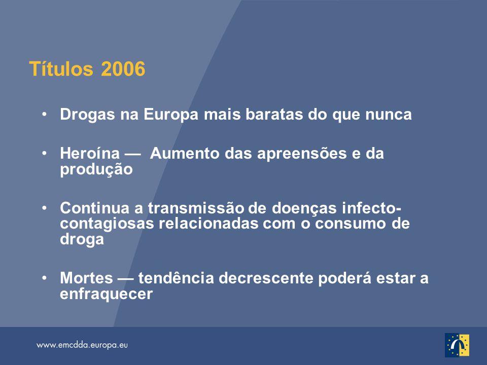 Títulos 2006 Drogas na Europa mais baratas do que nunca Heroína — Aumento das apreensões e da produção Continua a transmissão de doenças infecto- cont