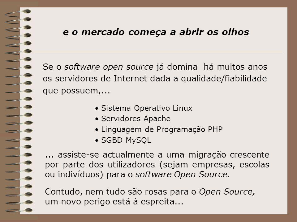 e o mercado começa a abrir os olhos Se o software open source já domina há muitos anos os servidores de Internet dada a qualidade/fiabilidade que possuem,...