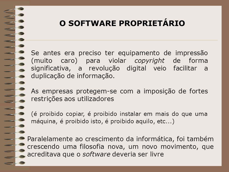 O SOFTWARE PROPRIETÁRIO Se antes era preciso ter equipamento de impressão (muito caro) para violar copyright de forma significativa, a revolução digital veio facilitar a duplicação de informação.