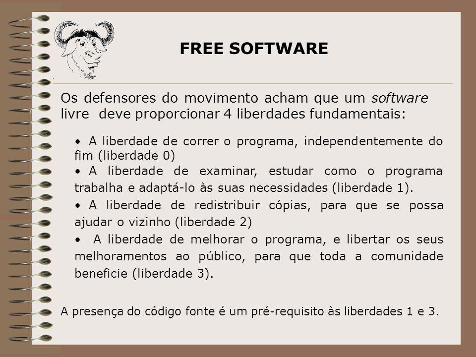 FREE SOFTWARE A liberdade de correr o programa, independentemente do fim (liberdade 0) A liberdade de examinar, estudar como o programa trabalha e adaptá-lo às suas necessidades (liberdade 1).