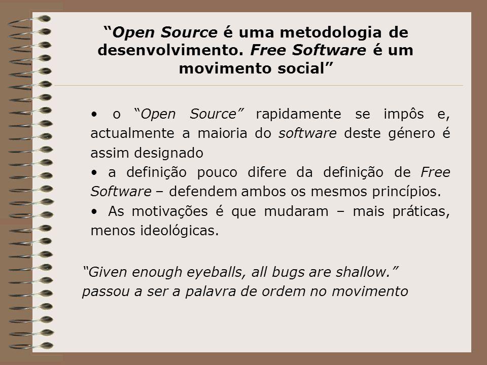 Open Source é uma metodologia de desenvolvimento.