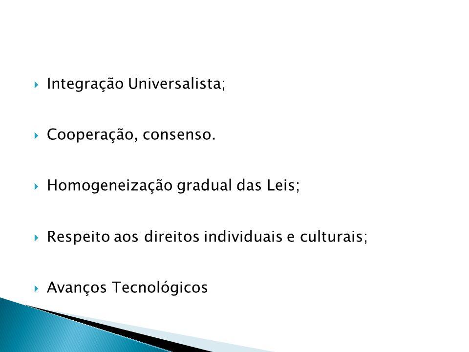  Integração Universalista;  Cooperação, consenso.  Homogeneização gradual das Leis;  Respeito aos direitos individuais e culturais;  Avanços Tecn