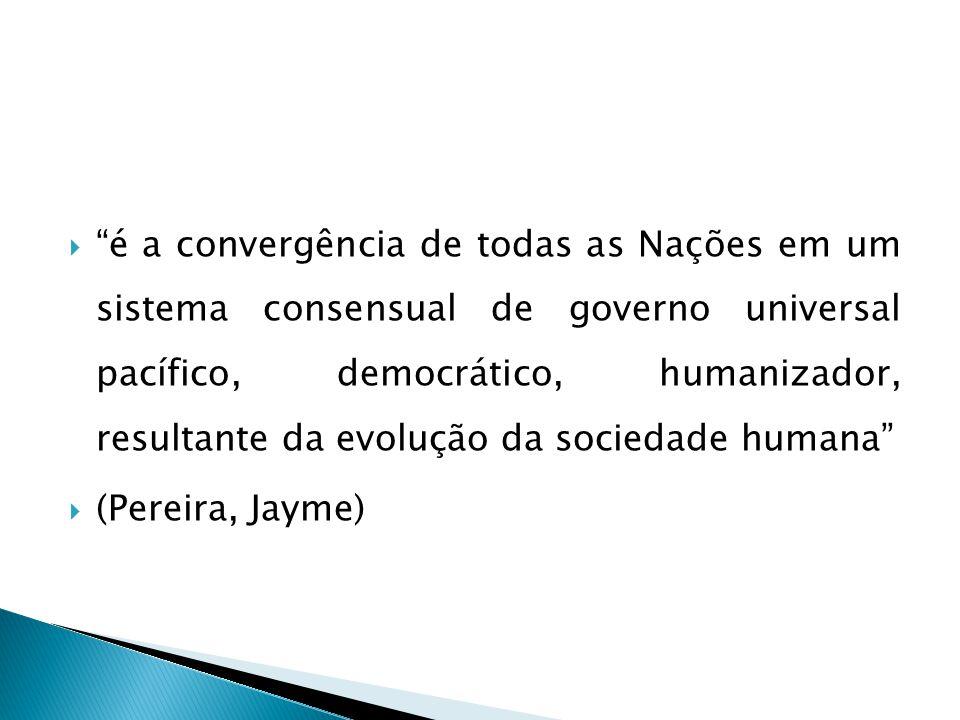  é a convergência de todas as Nações em um sistema consensual de governo universal pacífico, democrático, humanizador, resultante da evolução da sociedade humana  (Pereira, Jayme)