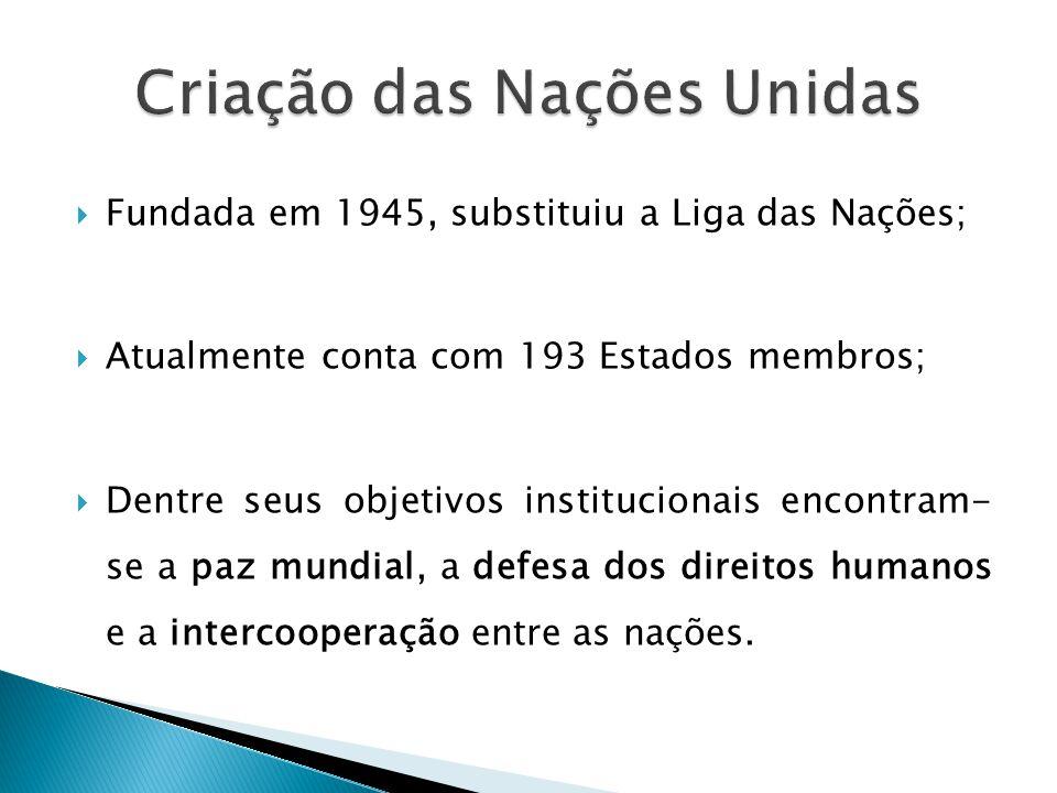  Fundada em 1945, substituiu a Liga das Nações;  Atualmente conta com 193 Estados membros;  Dentre seus objetivos institucionais encontram- se a paz mundial, a defesa dos direitos humanos e a intercooperação entre as nações.