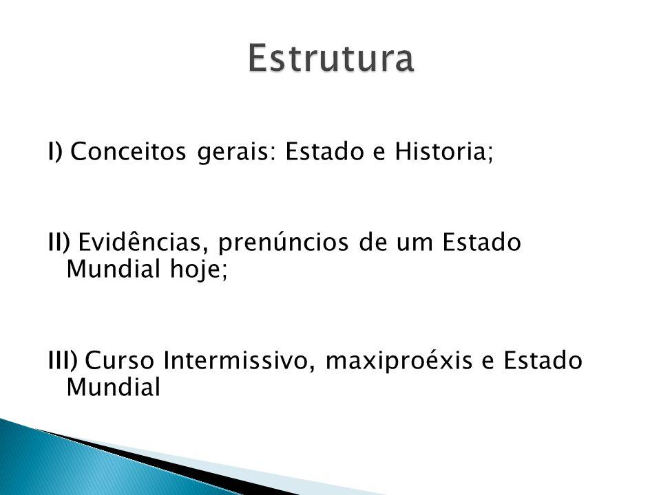 I) Conceitos gerais: Estado e Historia; II) Evidências, prenúncios de um Estado Mundial hoje; III) Curso Intermissivo, maxiproéxis e Estado Mundial