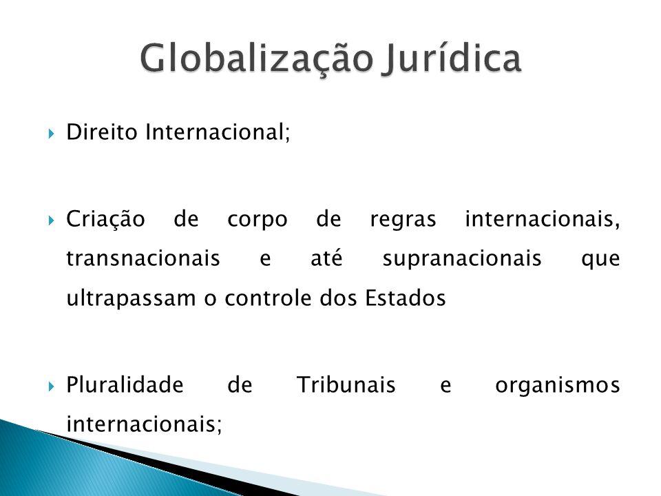  Direito Internacional;  Criação de corpo de regras internacionais, transnacionais e até supranacionais que ultrapassam o controle dos Estados  Pluralidade de Tribunais e organismos internacionais;