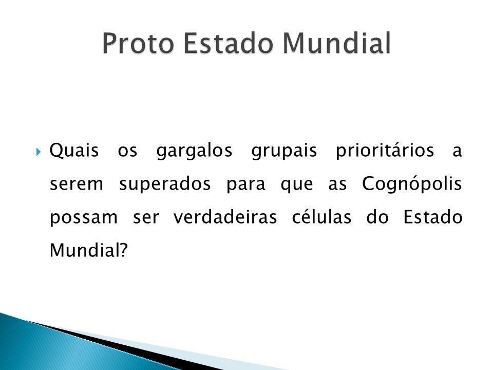 Quais os gargalos grupais prioritários a serem superados para que as Cognópolis possam ser verdadeiras células do Estado Mundial