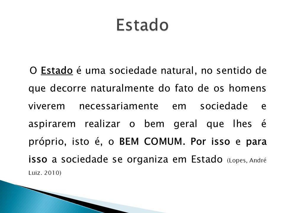 O Estado é uma sociedade natural, no sentido de que decorre naturalmente do fato de os homens viverem necessariamente em sociedade e aspirarem realiza