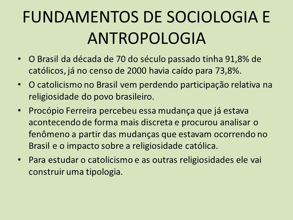 FUNDAMENTOS DE SOCIOLOGIA E ANTROPOLOGIA O Brasil da década de 70 do século passado tinha 91,8% de católicos, já no censo de 2000 havia caído para 73,8%.