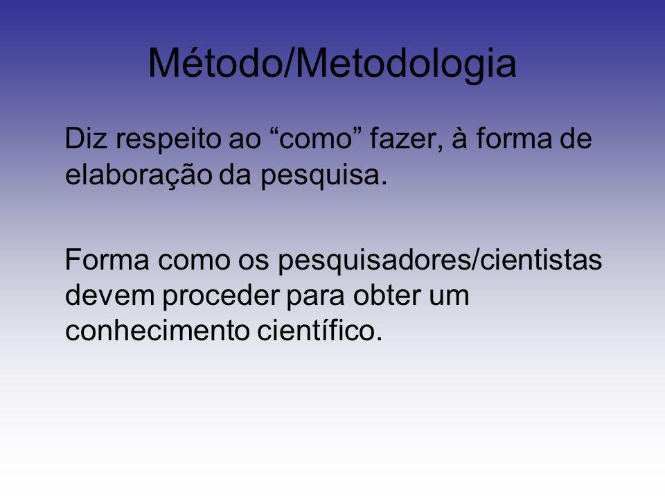 """Método/Metodologia Diz respeito ao """"como"""" fazer, à forma de elaboração da pesquisa. Forma como os pesquisadores/cientistas devem proceder para obter u"""