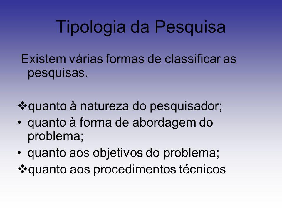 Tipologia da Pesquisa Existem várias formas de classificar as pesquisas.  quanto à natureza do pesquisador; quanto à forma de abordagem do problema;