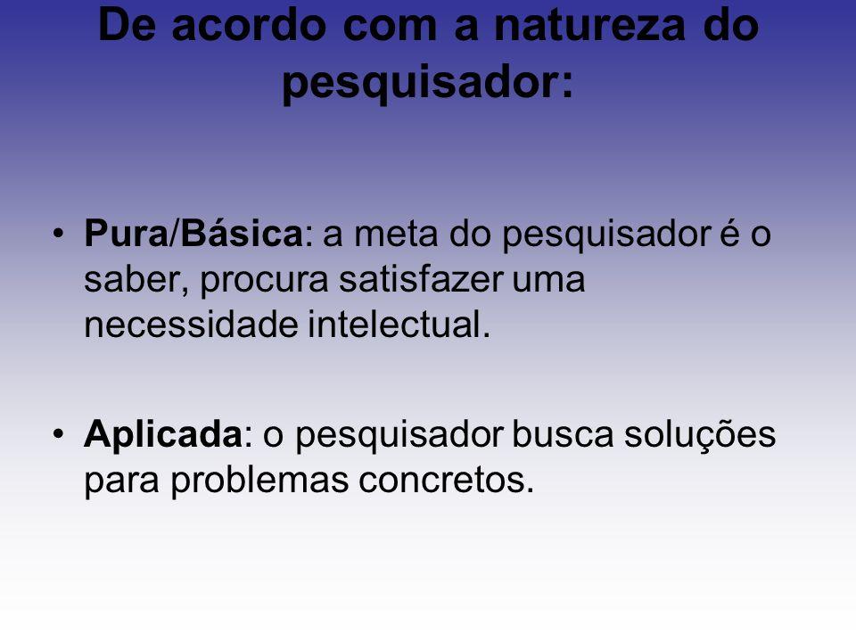 De acordo com a natureza do pesquisador: Pura/Básica: a meta do pesquisador é o saber, procura satisfazer uma necessidade intelectual. Aplicada: o pes